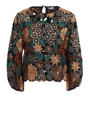 Valentino: blouses - Embroidered see-through blouse