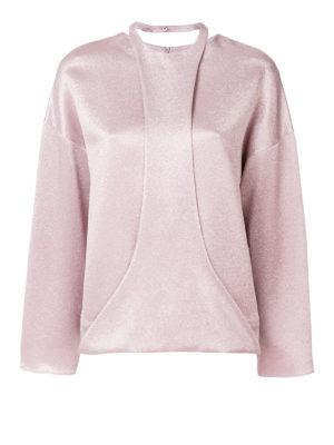 VALENTINO: bluse - Blusa con pettorina in satin lamé