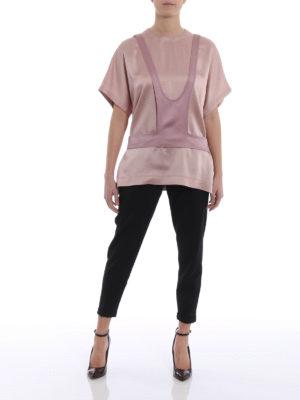 Valentino: blouses online - Panel detailed crêpe satin blouse
