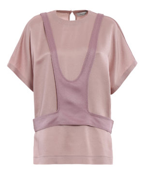Valentino: blouses - Panel detailed crêpe satin blouse