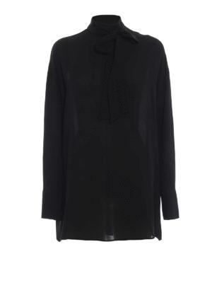 VALENTINO: bluse - Blusa over in seta con sciarpina e bottoncini