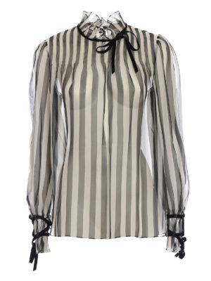 VALENTINO: bluse - Blusa in organza di seta a righe con fiocchi
