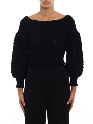 Valentino: boat necks online - Puff sleeved black wool sweater