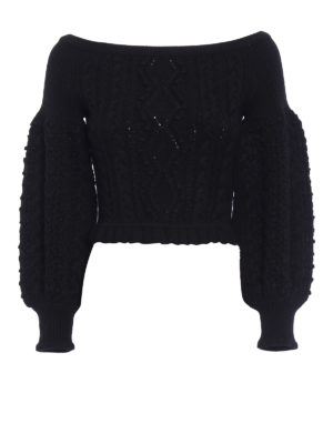 Valentino: boat necks - Puff sleeved black wool sweater