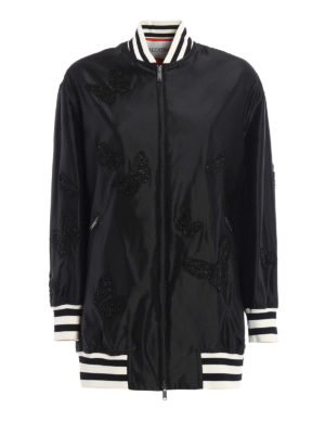 Valentino: bombers - Embroidered silk oversized bomber