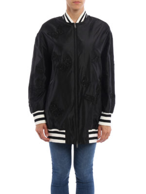 Valentino: bombers online - Embroidered silk oversized bomber