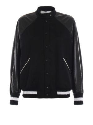 VALENTINO: giacche bomber - Bomber in panno di lana con maniche in nappa