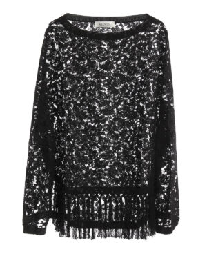 Valentino: Capes &  Ponchos - Fringed floral lace cape