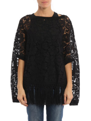 Valentino: Capes &  Ponchos online - Fringed floral lace cape