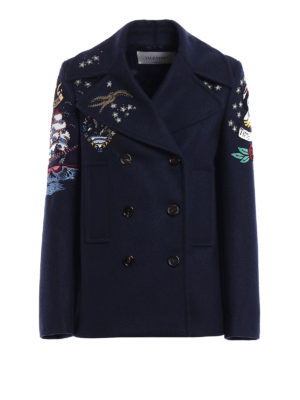 Valentino: casual jackets - Embroidered wool cloth pea jacket