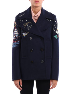 Valentino: casual jackets online - Embroidered wool cloth pea jacket