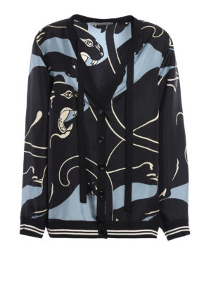 Valentino: casual jackets - Panther patterned silk cardigan