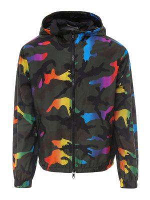 VALENTINO: casual jackets - Rainbow camouflage K-way