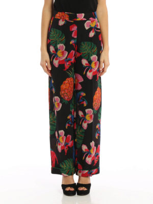 Valentino: casual trousers online - Coloured pattern silk trousers