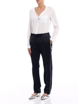 Valentino: casual trousers online - Contrasting stitching jersey pants