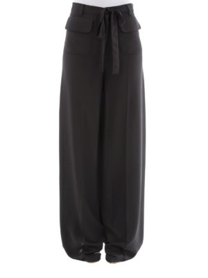 Valentino: casual trousers online - Silk palazzo trousers
