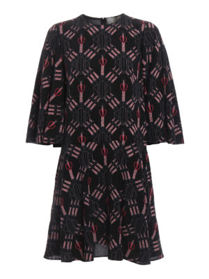 Valentino: cocktail dresses - Loveblade print silk flared dress