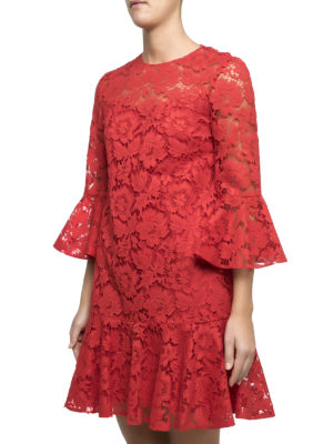 Valentino: cocktail dresses online - Heavy Lace bell sleeve short dress