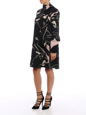 Valentino: cocktail dresses online - Panther print cady dress
