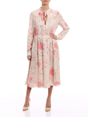 Valentino: cocktail dresses online - Rose print silk sophisticated dress