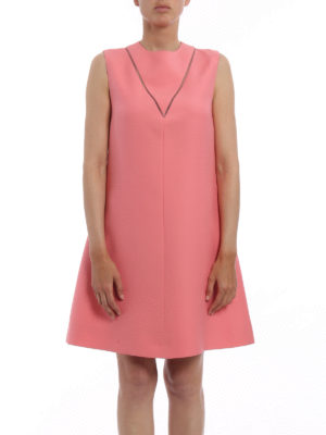 Valentino: cocktail dresses online - Wool and silk crepe flared dress