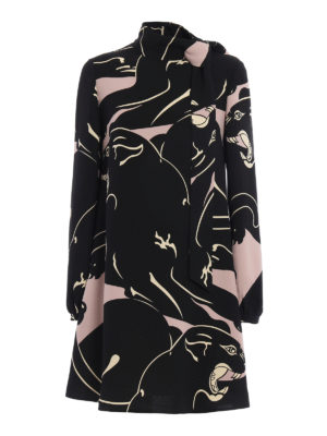 Valentino: cocktail dresses - Panther print cady dress