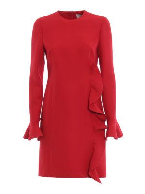VALENTINO: abiti da cocktail - Abito in Crepe Couture rosso con volant