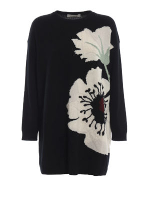 VALENTINO: maglia collo rotondo - Maglione over in cashmere con intarsio fiori
