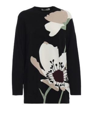 VALENTINO: maglia collo rotondo - Maglia over in viscosa con intarsio fiori