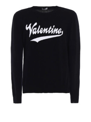 Valentino: crew necks - Logo intarsia black wool sweater