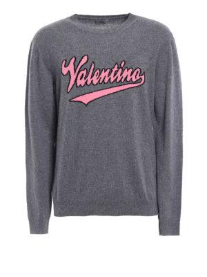 Valentino: crew necks - Logo intarsia grey wool sweater