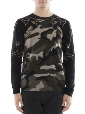 Valentino: crew necks online - Camupanther cashmere sweater