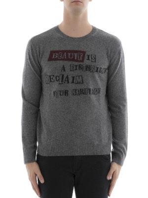 Valentino: crew necks online - Intarsia wool cashmere sweater