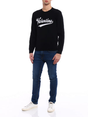 Valentino: crew necks online - Logo intarsia black wool sweater