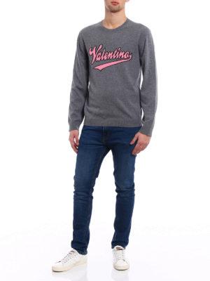 Valentino: crew necks online - Logo intarsia grey wool sweater
