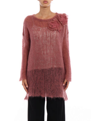 Valentino: crew necks online - Pink mohair blend long sweater