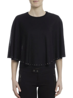 Valentino: crew necks online - Studded knitted cape
