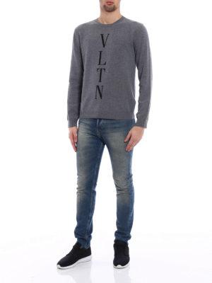 Valentino: crew necks online - VLTN intarsia wool blend sweater