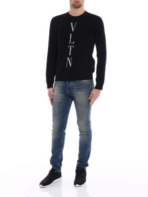 Valentino: crew necks online - VLTN intarsia wool cashmere sweater