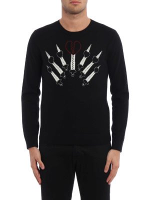 Valentino: crew necks online - Wool cashmere embroidered pullover