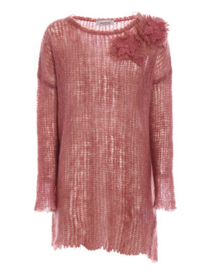 Valentino: crew necks - Pink mohair blend long sweater
