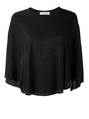 Valentino: crew necks - Studded knitted cape