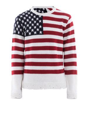 VALENTINO: maglia collo rotondo - Pull in cashmere destroyed con bandiera USA