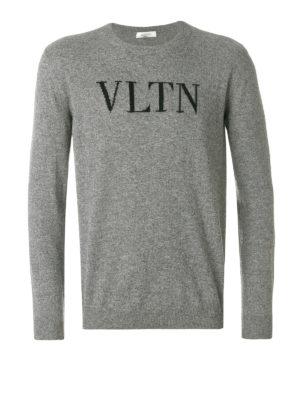 VALENTINO: maglia collo rotondo - Pull in lana e cashmere con intarsio VLTN