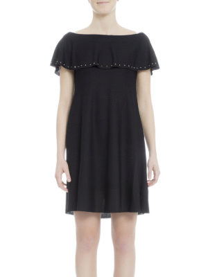 Valentino: evening dresses online - Studded ruffled knitted dress