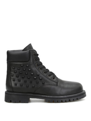 Valentino Garavani: ankle boots - Combat studded leather booties