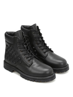 Valentino Garavani: ankle boots online - Combat studded leather booties