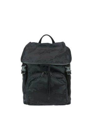 Valentino Garavani: backpacks - Black camu nylon backpack