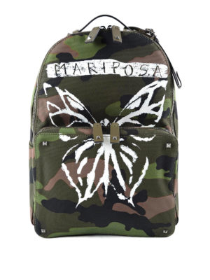 Valentino Garavani: backpacks - Camouflage backpack with butterfly