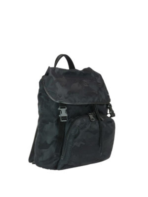 Valentino Garavani: backpacks online - Black camu nylon backpack